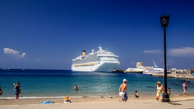 Cruise ship docked in Rhodes, Greece