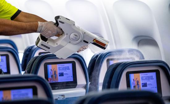 Delta Air Lines electrostatic disinfectant sprayer.