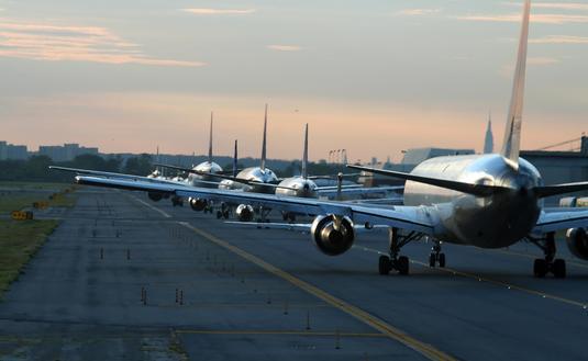 Evening traffic at New York City's John F. Kennedy International Airport, JFK