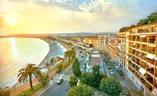 Promenade des Anglais in Nice at sunset. Cote d'Azur, France