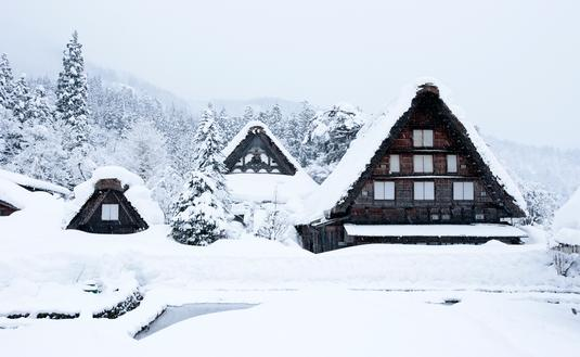 Ogimachi Village, Japan, snow, Unesco