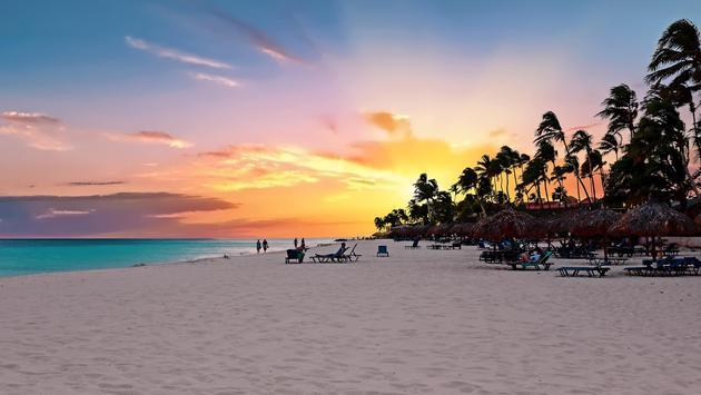 Aruba's Druif Beach at sunset