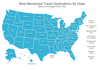 Map of the United States, most mentioned travel destinations