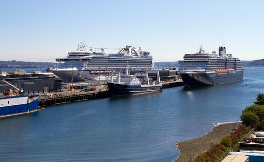 Cruise ships docked in Seattle, Washington
