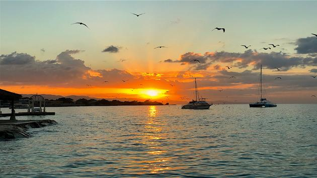 The sun sets over the Caribbean at Sandals Montego Bay, Montego Bay Jamaica