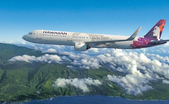 Hawaiian Airlines' A321neo near Maui.