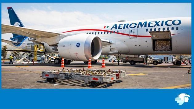 Durante la pandemia de COVID-19 Aeroméxico ha mantenido la operación de vuelos chárter de carga en equipos de pasajeros. (Foto de Aeroméxico)
