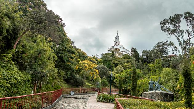 Walkway on top of Monserrate Hill with Monserrate Church on background