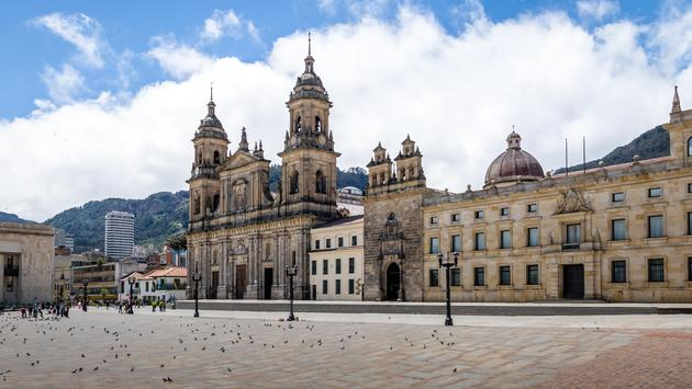 Bolivar Square and Cathedral in Bogota, Colombia