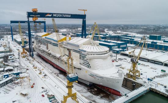 Costa Toscana meets water for the first time Jan. 15, 2021, in Turku, Finland.