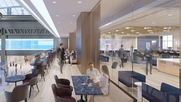 Rendering of Amtrak's Metropolitan Lounge (formerly ClubAcela)