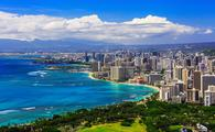 Skyline of Waikiki Beach and the surrounding area.