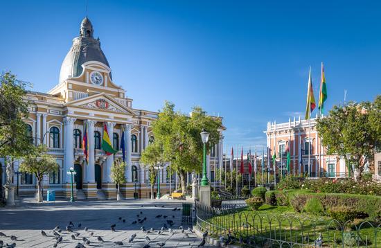 Plaza Murillo and Bolivian Government Palace in La Paz, Bolivia