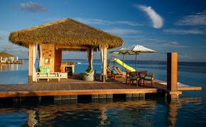 Floating cabanas at Coco Beach Club on Perfect Day at CocoCay