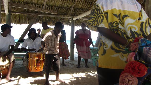 Garifuna dancers at Laughing Bird Cay in Belize