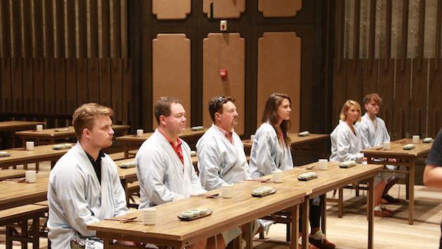 Zen lunch attendees in Zen robes