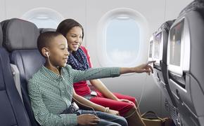 Parent and Child inside airplane