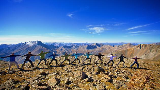Mid-hike Yoga atop Colorado's Mt. Oxford