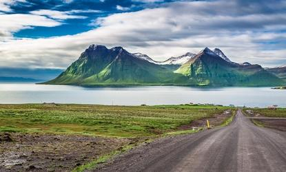 Mountain road leading to the peaks in Iceland