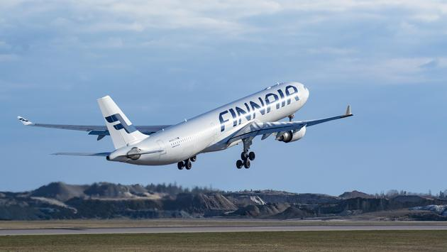 A Finnair Airbus A330 taking off from Finland's Helsinki Airport