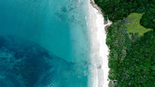 An aerial view of Playa la Lancha