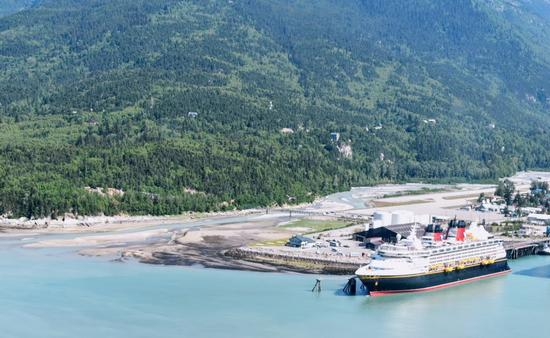 Disney Wonder at port in Skagway, Alaska as seen from a helicopter