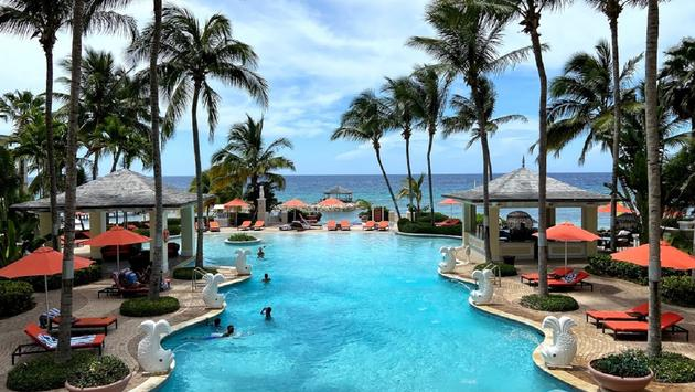 Enjoying pool time in Jamaica
