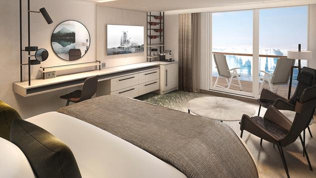 Balcony Suite onboard a Hurtigruten ship.