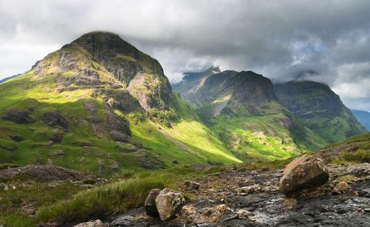 The Three Sisters Mountains in Glencoe, Scotland