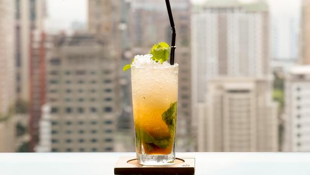Mojito cocktail at a rooftop bar