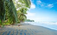Black beach at Cahuita, Limon, Costa Rica