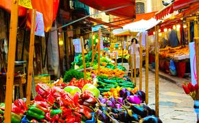 Sicily street market, Italy, food, vegetables