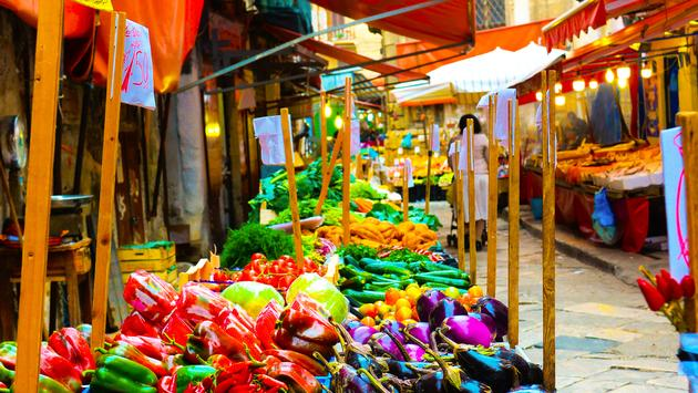 Sicily street market, Italy, food, vegetables