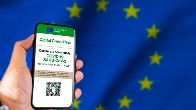 An example of the E.U. Digital Covid Certificate displayed on a mobile phone.