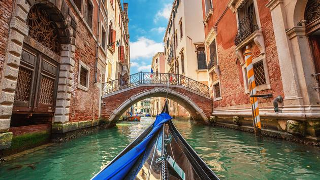 Ride through the canals in Venice, Italy
