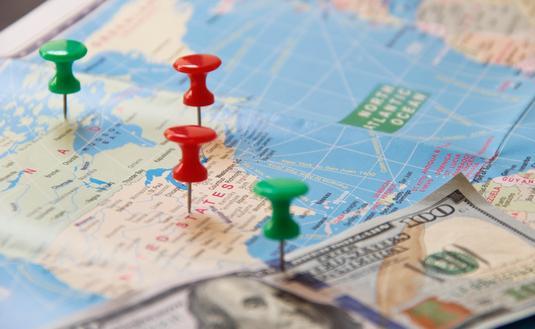 Money, travel map