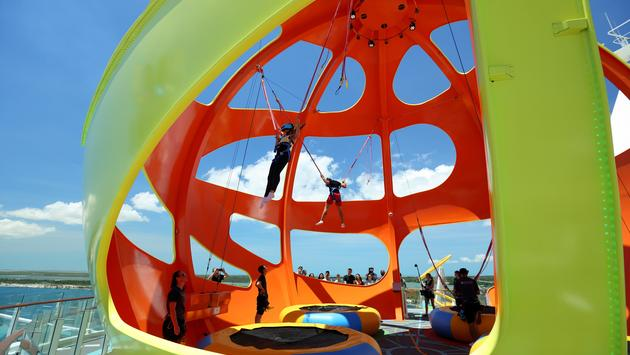 The Sky Pad virtual reality bungee trampoline experience onboard Mariner of the Seas, Royal Caribbean International