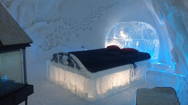 Guest room at Hotel de Glace, an ice hotel outside Quebec City