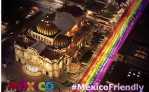 Palacio de Bellas Artes con mensaje de bienvenida a la comunidad LGBTQ. (Foto de VisitMexico)