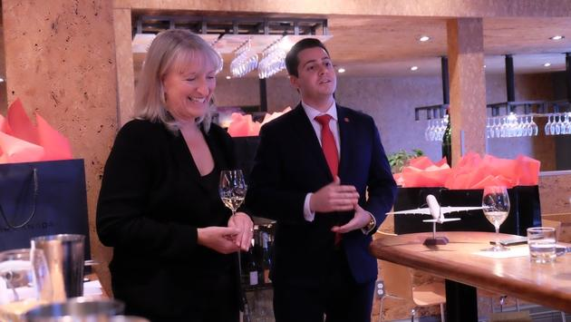 Sommelier Veronique Rivest and Andrew McFarlane of Air Canada