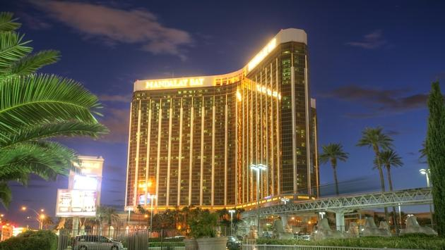Sunset view of Mandalay Bay in Las Vegas