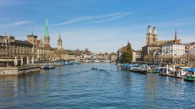 View along the Limmat River in Zurich, Switzerland