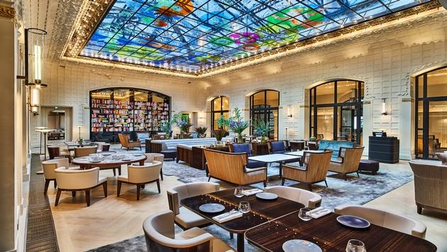 The famous glass ceiling at Hotel Lutetia's Salon St. Germain