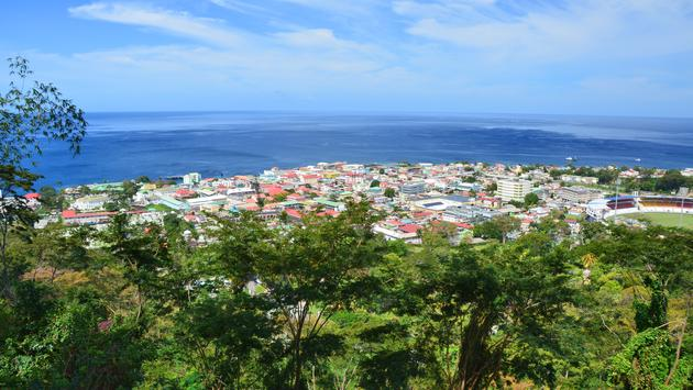 Scenic view of Roseau town and sea, Dominica island