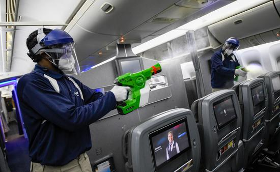Electrostatic spraying on American Airlines plane.
