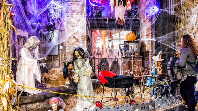 Halloween decorations in Manhattan's Chelsea neighborhood