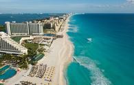 Cancun, Mexico beach aerial