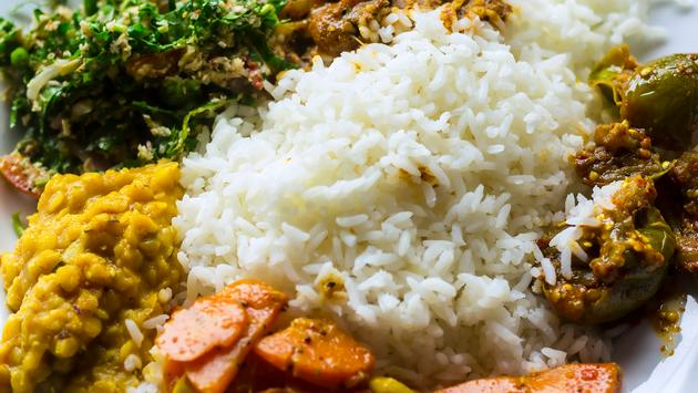 Traditional Sri Lankan dish of boiled rice, curry of fish and vegetables.