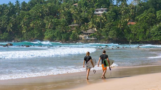 Mirissa on Sri Lanka's south coast is a popular spot for aquatic sports.
