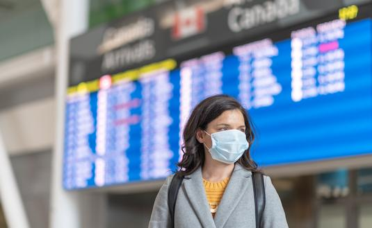 Traveling at the airport during the COVID-19 pandemic.